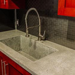 Concrete Farm Sink - Concrete countertop with integral farm sink