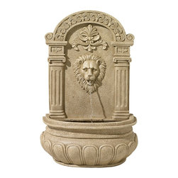 """Lamps Plus - Sand Finish Lion Face Wall Fountain - Water cascades from the mouth of a lion's head in this regal bronze finish wall fountain. Sand finish. Cast resin construction. For indoor/outdoor use. 20 1/2"""" wide. 31"""" high. 10 1/2"""" deep.  Wall fountain design.  Sand finish.  Cast resin construction.  For indoor/outdoor use.  Includes pump and 6-foot power cord.  20 1/2"""" wide.  31"""" high.  10 1/2"""" deep."""