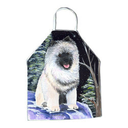 Caroline's Treasures - Starry Night Keeshond Apron SS8404APRON - Apron, Bib Style, 27 in H x 31 in W; 100 percent  Ultra Spun Poly, White, braided nylon tie straps, sewn cloth neckband. These bib style aprons are not just for cooking - they are also great for cleaning, gardening, art projects, and other activities, too!