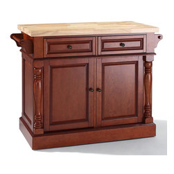 Crosley Furniture - Butcher Block Top Kitchen Island in Classic C - Fully functional doors and drawers on both sides. Butcher block top. Two towel bars. Antique brass finish hardware. Carved column accents. Two adjustable shelves behind doors. Warranty: 90 days. Made from solid hardwood and wood veneers. 48.25 in. W x 23 in. D x 36 in. H (132 lbs.). Assembly instructionsThis kitchen island is designed for longevity. The handsome raised panel doors and drawer fronts provide the ultimate in style to dress up any culinary space. Great for food preparation, the butcher block top is a plus in any kitchen. Deep push-through drawers are great for holding essential items, such as utensils or storage containers. style, function, and quality make this kitchen island a wise addition to your home.