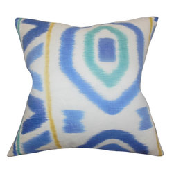 """The Pillow Collection - Rivka Geometric Pillow Blue 18"""" x 18"""" - Complete the look of your home with this pleasing accent pillow. This square pillow features an interesting geometric detail in shades of blue, yellow and white. This 18"""" pillow is made of 100% soft and high-quality linen material. Mix and match with patterns like zigzag, floral and other prints from our pillow collection."""