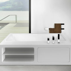 "Gessi Bathtubs -- Rettangolo ""Library"" - Love to read in the bath? Or just like to have the aromatherapy oil close at hand? Gessi's Rettangolo ""Library"" tub with integral open shelving is perfect. Created by renowned Italian sculptor Prospero Rasulo, and crafted in Italy, the tub features a pure rectangular shape and minimalist lines that are ideal for modern and eclectic spaces."