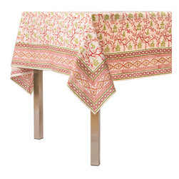 Origin Crafts - Pagoda crimson tablecloth - Pagoda Crimson Tablecloth Our East Asia inspired Pagoda pattern is a perfect fall tabletop addition. Block printed in shades of crimson and green, they're sure to be a nice addition to any dinner party. 100% Cotton, block printed. Machine wash, tumble dry low, warm iron as needed. Made in India.