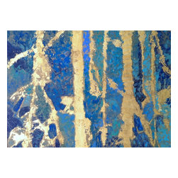 Bryan Boomershine Art - Blue and Gold Leaf Abstract Painting - Title: Aqua Gold