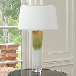 "Global Views Stria Ceramic Lamp Green - Holds a 150W 3-way ""A"" lamp bulb"