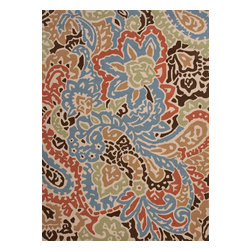 Jaipur Rugs - Abstract Pattern Multi Color Indoor/ Outdoor Rug - BA04, 7.6x9.6 - A soft, beautiful rug to complement your soft, beautiful space. Pastels and neutrals marry dreamily in an abstract pattern reminiscent of florals and paisley. Made of durable polyester that's easy to keep clean and lasts through many style updates.
