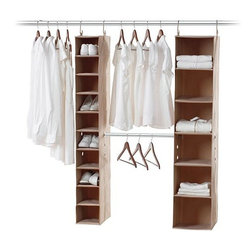 Home Decorators Collection - ClosetMAX 3-Piece Kit - Optimize your closet organization with our ClosetMAX 3-Piece Kit. The Expandable Hanging Closet Organizer doubles your hanging space for shirts, skirts and folded pants. The 10-shelf Canvas Closet Organizer will hold your shoes and accessories; the 6-Shelf Canvas Closet Organizer catches larger items, including folded items like sweaters and linens. Transform any of the latter shelves into a drawer with a ClosetMAX Bin, sold separately. Includes one six-shelf Canvas Closet Organizer, one 10-shelf Canvas Closet Organizer and one Expandable Hanging Closet Organizer. Polyester fabric easily wipes clean. Thick metal hanging hooks and strong nylon straps work with any closet bar. Durable grommets allow for combination with other ClosetMAX items. No tools required for installation.