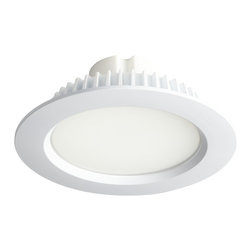 """Luminaire - 6"""" LED Recessed Lighting Retrofit Conversion Kit - Transform your existing recessed lighting fixtures into energy efficient LED lights with this 6"""" LED retrofit conversion kit. Designed to replace a 100W incandescent or 35W CFL bulb this downlight kit can be simply screwed into your existing medium base socket. Includes a dimmable 13 watt LED with 50000 hour anticipated lifespan. Includes white finish trim compatible with most 6"""" recessed housings. Trim and LED module. White finish metal construction. Includes 13 watt LED array. 120 volt input. Dimmable. Fits most 6"""" housings. 975 lumens. 50000 hours anticipated life span. GU24 socket available sku#2X842 (sold separately). Dimmable using an LED rated dimmer or electronic low voltage dimmer.  Trim and LED retrofit kit.   White finish metal construction.   13 watt LED array; replaces a 100 watt incandescent.  960 lumens.   2700k.  120 volt input.   100 to 5 percent dimming.  Fits most 6"""" housings.   50000 hours anticipated life span.   Suitable for damp locations.  Outer diameter is 7.5""""  3"""" high  Inside light diameter 5""""  Five years manufacturer's warranty.  Dimmable using an LED rated dimmer."""