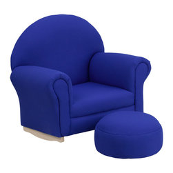 Flash Furniture - Flash Furniture Kids Blue Fabric Rocker Chair and Footrest - Kids will now get to enjoy furniture designed specifically for their size! This charming set is sure to become your child's favorite chair. The rocker base will allow kids to gently rock while watching TV or reading their favorite book. This portable chair is great for seating in any room. The durable fabric upholstery will hold up against your active child.