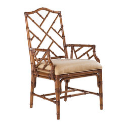 Lexington - Lexington Island Estate Ceylon Arm Chair Set of 2 531-883-01 - Chippendale inspired leather wrapped bamboo in the Plantation finish. Standard fabric is Macadamia, a basket weave pattern in golden sand coloration.