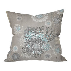DENY Designs - Iveta Abolina French Blue Throw Pillow, 20x20x6 - Fragile flowers and gentle hues meet in this edge-of-a-dream design. Can't you imagine the artist in a Parisian garret atelier creating it?