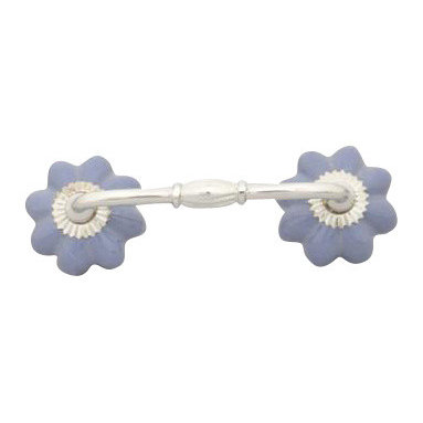Knobco - Purple Ceramic Flower Cabinet or Drawer Pull - Ceramic drawer pull with two purple flower shaped knobs made out of pottery and connected with with a metal handle that comes in 3 styles:Silver, Brass, and Brass Antique. Comes with the screws and bolts needed for installation. The screws are spaced 4 inches apart and the full width of the drawer pull is 5 inches