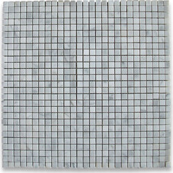 """Stone Center Corp - Carrara Marble Square Mosaic Tile 3/8x3/8 Polished - Carrara white marble 3/8"""" x 3/8"""" square pieces mounted on 12"""" x 12"""" sturdy mesh tile sheet"""