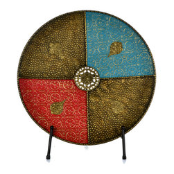 """Concepts Life - Concepts Life Decorative Plate  Moorish Splendor  20"""" Diameter W/Rack - Add a medieval, exotic flare to your living space with this iron round decorative plate. Earthy tones and embossed detailing , make this ornate piece a treasure to have in your home.  Modern home accent Hand-painted decorative plate Crafted from 100% iron Stylish blend of modern and romantic Beautifully hand-crafted; will have unique bends and asymmetries Includes iron stand Dimensions: 20"""" diameter x 13""""d Weight: 3 lbs"""