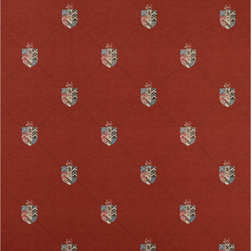Kathy Kuo Home - Crest and Trellis British Classic Motif Wallpaper - Red - This crest and trellis design idea is synonymous of England. Vintage, historical and classic. Comes in 5 colours offering traditional and contemporary options.