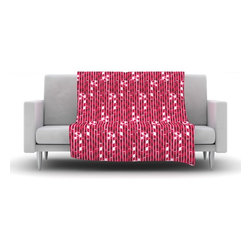 """Kess InHouse - Allison Beilke """"Candy Cane Lane"""" Pink Red Fleece Blanket (90"""" x 90"""""""") - Now you can be warm AND cool, which isn't possible with a snuggie. This completely custom and one-of-a-kind Kess InHouse Fleece Throw Blanket is the perfect accent to your couch! This fleece will add so much flare draped on your sofa or draped on you. Also this fleece actually loves being washed, as it's machine washable with no image fading."""
