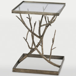"Ren-Wil - Synthesis Accent Table in Antique Silver Finish - Written about by famous authors, the Chestnut Hills forest strives to grow bigger and better. This antique silver end table lends the whimsy of the forest to any space with its metal branch body and clear glass top.; Artist: Jonathan Wilner; Frame Material: Metal & glass; Finish: Antique Silver; Weight: 19.84 lbs; Dimensions: 18""L x 18""W x 24.5""H"