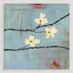 World Market - Dogwood on Blue III by Laura Gunn - Laura Gunn's paintings reflect the tension between traditional and contemporary, natural and synthetic, growth and decay. The foundation of each painting reflects the beauty of deterioration, inspired by such things as rotting plaster or rusting metal. Over this she lays a living botanical, creating contrast and balance. Every painting involves experimentation and discovery, and each is an enlivening experience in any space.