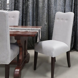"""Haute House - Glamour Dining Chair - NATURAL - Haute HouseGlamour Dining ChairDetailsEXCLUSIVELY OURS.Handcrafted dining chair.Alder wood frame.Polyester upholstery.19.5""""W x 24.5""""D x 43""""T; seat 17""""D x 20.5""""T.Made in the USA of imported materials.Boxed weight approximately 45 lbs. Please note that this item may require additional shipping charges.Designer About Haute House:Haute House is a Hollywood-based design and manufacturing company that creates haute couture furnishings for the home. Designer and owner Casey Fisher has been designing furniture for years as an upholstery textile and retail space stylist. Instead of designing a line offering just one look the Haute House line consists of three looks that offer something for every taste. However there is one element present in every Haute House design a great sense of style."""
