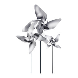 Blomus - One Viento Pinwheel, Medium - The Viento Pinwheel takes a childhood favorite and spins it with a modern twist.  Reminisce about easier times where holding a pinwheel out of the window would provide entertainment for hours. You are purchasing 1 pinwheel.