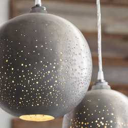 Roost - Roost Constellation Large Pendant Lamp - Stardust sparkles of light glow from Roost's Constellation Pendants. Globes of zinc-plated iron are hand-drilled to create stellar shades. The pendant features a clear cord and porcelain socket. UL listed components. 60 watt max bulb.