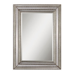 "Uttermost - Seymour Antique Silver Mirror - This Mirror Features A Frame Made Of Antiqued Mirror Inlays With Burnished Silver Details. Center Mirror Features A Generous 1 1/4"" Bevel. May Be Hung Horizontal Or Vertical."