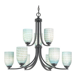 Design Classics Lighting - Modern Chandelier with Blue Glass in Matte Black Finish - 586-07 GL1003D - Contemporary / modern matte black 9-light chandelier. Takes (9) 100-watt incandescent A19 bulb(s). Bulb(s) sold separately. UL listed. Dry location rated.
