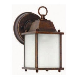 Yosemite Home Decor - Outdoor Lighting. Tara Collection Wall mount 1-Light Outdoor Lamp - Shop for Lighting & Fans at The Home Depot. Tara by Yosemite Home Decor has a square box shape, adding a bit of modern influence, yet the frame is much more traditional. The brown frame extends from your wall to hang the light fixture overhead. The incandescent bulb is protected by the piece s beautifully frosted glass, allowing a soft light to flood your walkway. The Tara is also available with a black frame (5008IBL). This fixture requires one 60-watt incandescent bulb (not included).