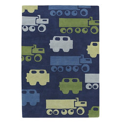"""Chandra - Kids Kids 7'9""""x10'6"""" Rectangle Blue-Green Area Rug - The Kids area rug Collection offers an affordable assortment of Kids stylings. Kids features a blend of natural Blue-Green color. Hand Tufted of New Zealand Wool the Kids Collection is an intriguing compliment to any decor."""