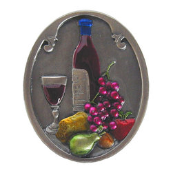 """Inviting Home - Best Cellar (hand-tinted antique pewter) - Hand-cast Best Cellar Knob in hand-tinted antique pewter finish; 1-1/4""""W x 1-1/2""""H; Product Specification: Made in the USA. Fine-art foundry hand-pours and hand finished hardware knobs and pulls using Old World methods. Lifetime guaranteed against flaws in craftsmanship. Exceptional clarity of details and depth of relief. All knobs and pulls are hand cast from solid fine pewter or solid bronze. The term antique refers to special methods of treating metal so there is contrast between relief and recessed areas. Knobs and Pulls are lacquered to protect the finish."""