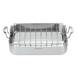 "Cuisinart - Cuisinart MultiClad Pro Triple Ply Stainless 16"" Roasting Pan with Rack - Designed to hold turkeys, chickens or large roasts"
