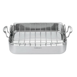 "Cuisinart - Cuisinart MultiClad Pro Triple Ply Stainless 16"" Roasting Pan with Rack - Designed to hold turkeys. chickens or large roasts"