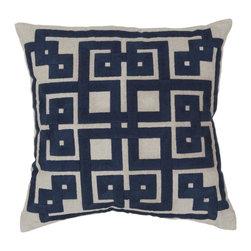 "Surya - Surya 22 x 22 Decorative Pillow, Oatmeal and Midnight Blue (LD002-2222P) - Surya LD002-2222P 22"" x 22"" Decorative Pillow, Oatmeal and Midnight Blue"