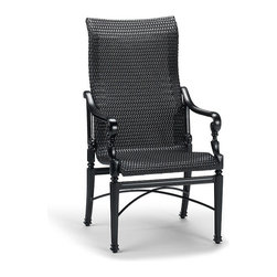 Frontgate - Set of Two Carlisle Woven Outdoor Dining Chairs, Patio Furniture - Woven mahogany all-weather resin wicker seat. Relaxing high back. 100% ingot aluminum, a premium quality material. Hand-filed welds. Rich, multilayered onyx finish with UV protected top coat. The Carlisle Woven-enhanced Dining Chair has the same elegantly detailed cast aluminum frames as our other Carlisle pieces, and a supremely comfortable woven wicker seat. The multipurpose chairs fit beautifully around any dining table shape.Part of the Carlisle Onyx Collection.  . .  .  .  .