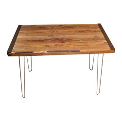 Mt Hood Wood Works - Industrial Dining Table with Hairpin Legs - This Industrial Dining Table with hairpin legs can make the perfect dining table for two or four people. It is made from Salvaged Barnwood .