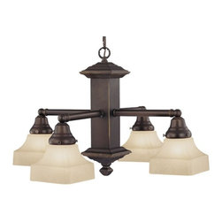 Design Classics Lighting - Craftsman Bronze Chandelier with Four Lights - 375-78 / G9415C - Traditional craftsman styling and amber-hued caramelized glass create a warm dining experience with this four-light chandelier. Comes with 5-feet of chain and 6-feet of wire and the ceiling canopy is 5-inches in diameter. Takes (4) 100-watt incandescent A19 bulb(s). Bulb(s) sold separately. UL listed. Dry location rated.
