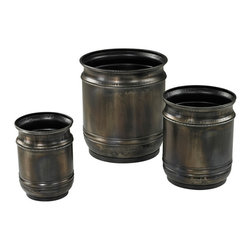 Sterling Industries - Sterling Industries 26-8669/S3 Set Of 3 Oxidised Finish Planters - Planter (3)