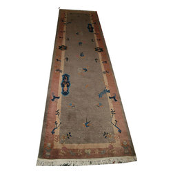 """Individual - Antique  3' x 11' Art Deco Chinese Runner - This is a authentic Chinese Art Deco Runner. Folks who are well familiar with Chinese Art Deco know very well that it is very difficult to find when it comes to runners. We have been fortunate to find a few in past months and we offered every one of them on etsy and all were sold. The one that I am offering is one of our new acquisitions , is in good condition for its age, it shows minor wears in a couple areas in the filed, but barely is visible. Measures 3' x 11'-6"""" and I am offering it at the very very reasonable price of $1,199.00. 00."""