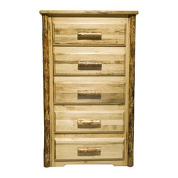 """Montana Woodworks - Montana Woodworks 5-Drawer Chest in Glacier Country - This five-drawer chest features easy glide drawer slides and spacious drawers (21.75""""W x 16.375""""D x 5.25""""H) to hold the essentials of everyday life and more. This chest increases storage by 20% as compared to our standard chest of drawers while taking up no additional floor space. Handcrafted in Montana using solid, U. S. grown wood, edge glued laminated panels and finished in the """"Glacier Country"""" collection style for a truly unique, one-of-a-kind look reminiscent of the Grand Lodges of the Rockies, circa 1900. First we remove the outer bark while leaving the inner cambium layer intact for texture and contrast. Then the finish is completed in an eight step professional spraying process that applies stain and lacquer for a beautiful and long lasting finish. These chests of drawers are true heirloom quality, designed and built to last a lifetime. Comes fully assembled. 20-year limited warranty included at no additional charge."""
