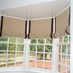 Fabric Shades - Flat Banded Roman Shades fabricated by Creative Cotton Company