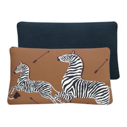 "Chloe and Olive - Scalamandre Brown Zebra Print Lumbar Throw Pillow, Left Facing 16x26"" - This iconic, prancing print by Scalamandre will bring vivacity and glamour to a couch, bed or chair. With a stunning pair of zebras on each throw pillow, the exquisite combination of safari brown, black and white will be a favorite for many seasons to enjoy. Scalamandre is a well known manufacturer of the finest quality fabrics for over 80 years."