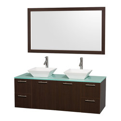 Wyndham Collection - Bathroom Vanity Set with White Bone Porcelain Sinks - Includes mirror, sink, drain assemblies and P-traps for easy assembly. Faucets not included. Two functional doors. Four functional drawers. Plenty of storage space. Metal exterior hardware with brushed chrome finish. Single-hole faucet mount. Eight stage preparation, veneering and finishing process. Highly water-resistant low V.O.C. sealed finish. Unique and striking contemporary design. Modern wall-mount design. Deep doweled drawers. Fully extending soft-close drawer slides. Engineered for durability and to prevent warping and last a lifetime. Made from veneers and highest quality grade E1 MDF. . Espresso finish. Mirror: 58 in. W x 33 in. H. Vanity: 60 in. L x 22.25 in. W x 21.25 in. H. Care Instructions. Assembly Instructions - Vanity. Assembly Instructions - MirrorModern clean lines and a truly elegant design aesthetic meet affordability in the Wyndham Collection. The attention to detail on this elegant contemporary vanity is unrivalled.
