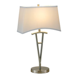 """Adesso Inc. - Taylor Table Lamp - Each Taylor lamp has a satin steel body and round base with a dipping white rectangular poly/cotton shade. The shade is fastened with a matching satin steel finial. Each has a three-way rotary switch. Takes 1 x 100 Watt incandescent or three-way CFL bulb.  28"""" Height, 7"""" Base. Shade: 9.75"""" to 8.25"""" Height, 15"""" Width, 7.75"""" Depth."""