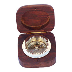 """Handcrafted Model Ships - Brass Desk Compass with Rosewood Box 3"""" - Nautical Decor - The beautiful Hampton Nautical Rosewood Desk Compass finely crafted from solid brass, and set within a hinged box carved of solid rosewood and inset with a brass Anchor emblem."""