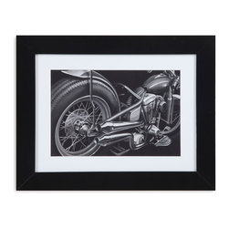 Bassett Mirror - Bassett Mirror Framed Under Glass Art, Vintage Motorcycle II - Vintage Motorcycle II