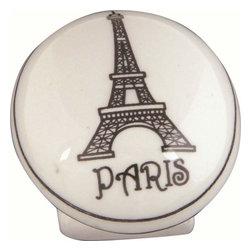 Atlas Homewares - Atlas 3141 Travel 1 1/4-Inch Ceramic Door Knob White W/Paris Design - Atlas 3141 Travel 1 1/4-Inch Ceramic Door Knob White W/Paris Design