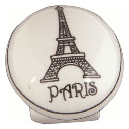 Atlas Homewares - Atlas 3141 Travel 1 1/4-Inch Ceramic Door Knob White W/Paris Design - Atlas 3141 Travel 1 1/4-Inch Ceramic Door Knob White W/Paris Design