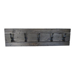 "East Coast Rustic - Barnwood Coat Rack in Ebony - This reclaimed barn wood coat rack shelf is approximately 37"" long x 10"" high. All dimensions are approximate."