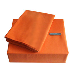 """Jenny George Designs - Jenny George Sheet Set, Orange, Twin - Brights Sheet Set Color Teal Orange Size 200 Thread Count. Set Includes 1 Flat Sheet, 1 Fitted Sheet, 1 Pillow Case. Flat Sheet Dimensions: 66"""" x 96"""". Fitted Sheet Dimensions:39"""" x 76"""" x 12"""". Pillowcase Dimensions: 20"""" x 30"""". 60% Cotton/40% Polyester. Machine Wash."""