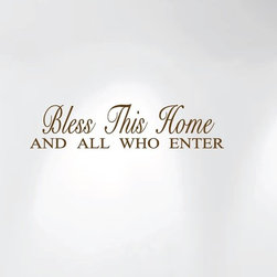 Innovative Stencils - Bless This Home and All Who Enter Wall Decal Sticker Quote #1240, Matte Brown - MADE IN THE USA WITH 100% USA MATERIALS